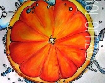 Orange Splash Watercolor Painting