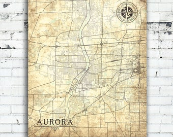 Aurora city map Etsy