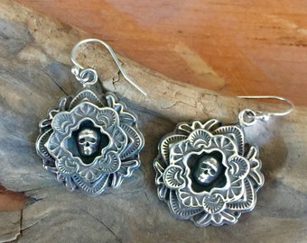 E363 Sterling Silver Framed Mini Skull Earrings  Southwestern Native Santa Fe Style