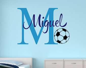 Soccer Name Wall Decal   Personalized Name Wall Decal   Sports Decal Kids Room  Decor