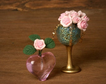 Rose Miniature Heart Vase for your Dollhouse