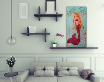 Mermaid original painting canvas starfish girl bedroom mermaid nursery wall art mermaid kisses starfish wishes blue orange gold purple