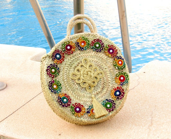 Round straw bag  Medium size round basket  Bohemian style round straw bag with golden tassel Gipsy Boho Hippie style round handbag