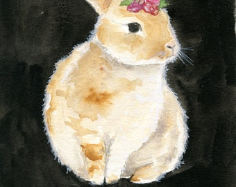 Bunny Painting - 5x7 Original Watercolor - Nursery Art - Dainty Bess - Rabbit Art