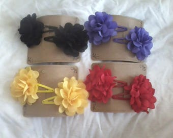 "2"" Chiffon Flowers on Snap Clips"