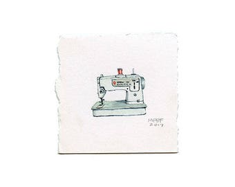 Tiny Realistic Vintage Sewing Machine Watercolor Painting