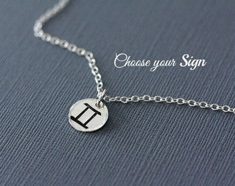 Zodiac Necklace - YOUR SIGN - Hand Stamped Zodiac Necklace in Sterling Silver - Astrological Sign, Horoscope Jewelry