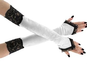 Long fingerless gloves arm warmers long gloves white gloves evening gloves womens gloves opera gloves extra long black white 120W