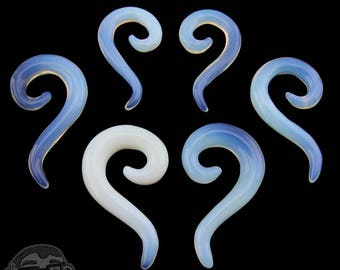 Opalite Glass Tail Spirals - Sizes / Gauges (2G, 0G, 00G)