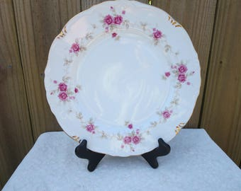 Vintage Dinner Plates, Six Dinner Plates with Roses, Pink Rose Dinner Plates, Made by Ucago, Made in Japan, Carolina Pattern, Kitchenware