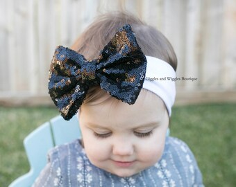 Baby headbands, black sequin bow, white headbands, black bow headband, sparkle bow headband, baby head wrap, baby bows, easter headband