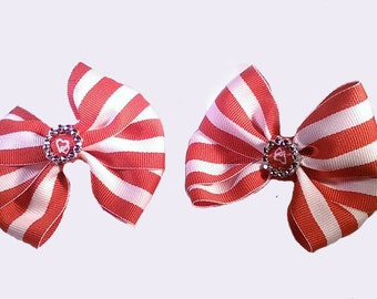 Triple Bows - Candy Red, Ocean Blue, Yellow, Deep Blue, Hot Pink - 3 inches wide