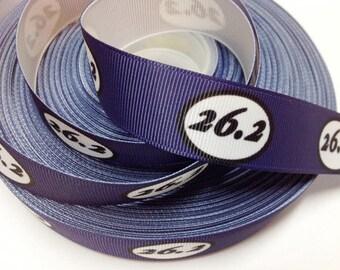 7/8 inch 26.2 Marathon on Dark Blue Run Running Runner  Mile  Sports Printed Grosgrain Ribbon for Hair Bow