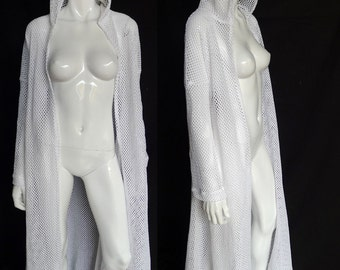 SALE! White Cotton Net Duster with Hood. Loungewear, Robe, Beach Coverup, Festival Clothing, Burning Man
