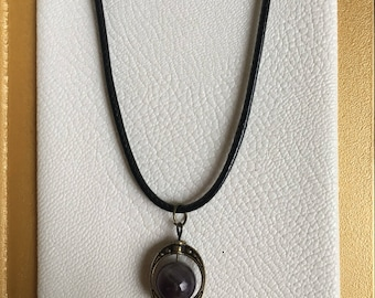 Charm necklace with amethyst bead