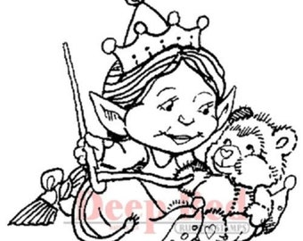 Deep Red Rubber Cling Stamp Sewing Elf with Teddy Bear