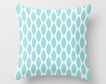Aqua Throw Pillow, Ikat, Velvet Pillow Cover, Girls Bedroom Decor, Aqua Cushion Cover, Teen Girl Room Decor, Tween Girls, Dorm, Teen Pillows