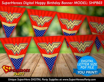 Wonder Woman Birthday Party banner bunting flags gold navy blue party supplies instant download decorations digital PDF files YOU PRINT