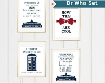 Set Dr Who cross stitch pattern doctor who craft police box dr who dr who quote pattern i think inside the box