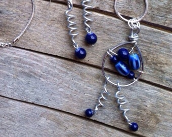 Blue Glass Bead and Wire Necklace and Earring Set  NES-061814-5