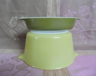 Pyrex verde 473 no lid and verde pixie 700 au gratin dish