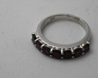 Cut Garnet Gem Stone Silver Ring Gift Boxd Size N