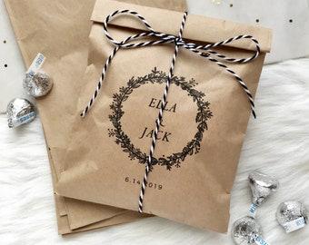 Personalized Wedding Favor Bags, Kraft Favor Bag, Custom Favor Bag, Popcorn Bag, Candy Buffet Bag, Party Treat Bag, FREE SHIPPING