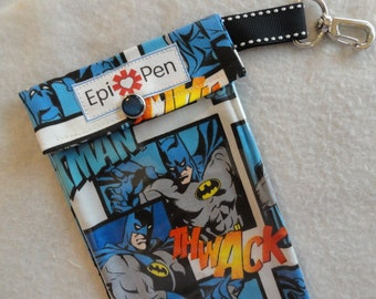Batman Epi Pen Case Holds 2 Adult or Jr. Allergy Injector Pens w/ Clear Pocket and Clip Medical ID Card Included