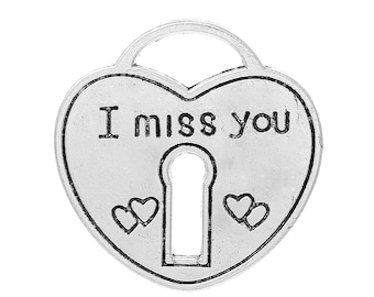 """4 Pieces Antique Silver Large Heart Lock """"I Miss You"""" Carved Charms"""