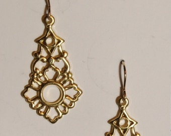 Gold Art nouveau earrings on 14k gold filled ear wires
