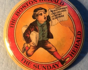 Vintage/Antique Celluloid Mirror The Boston Hearld/The Sunday Hearld 1 3/4in Round,Great Condition<>BCEB-182