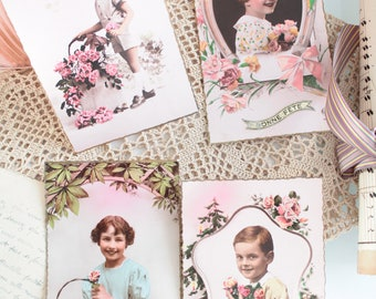 4 postcards with old photographs of children, vintage card colorized sepia photo postcard, 1178