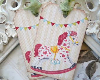 Rocking Horse Tags (6) Baby Gift Tags-Vintage Baby Shower Tags-Shabby Gift Tags-Party Favor Tags-Treat Tags-Birthday Gift Tags-Tags for Kids