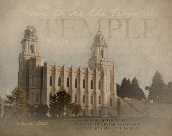 Manti Utah LDS Temple Print 16x20