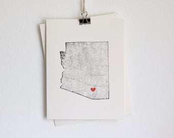 Arizona State Notecard / Heart / Greeting Card / Rustic / Modern / Moving / Thank You / Chic / Handmade / Wedding / Set of Cards / Travel