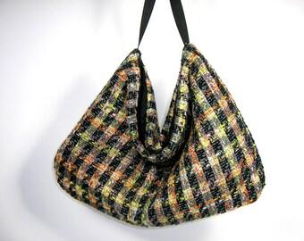 FREE SHIPPING/Sale Wool Plaid Hobo Bag Tweed Hobo Bag Plaid Hobo Shoulder Bag Tweed Purse Black and Orange Hobo Bag Woman's Hobo Bag Purses