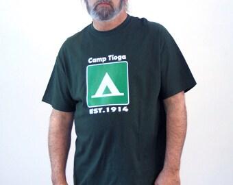 90s Camp Tioga T-Shirt XL, Summer Camp T-Shirt, Graphic Tee, Forest Green T-Shirt, Pennsylvania T-Shirt, Vintage Camp Shirt, Extra Large
