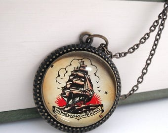 Tattoo Ship Nautical Pendant Necklace Vintage Style Bronze Beach