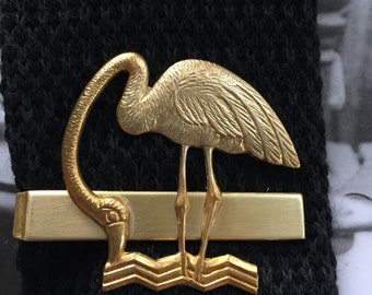 Gold Plated Flamingo on a Brass Tie Bar/Clip.