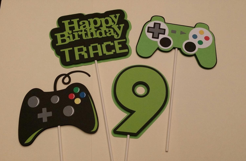 Gamer birthday party birthday party centerpiece sticks for Decoracion gamer