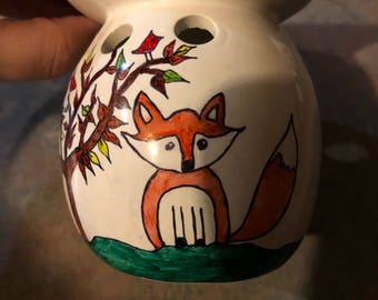 Woodland Fox Nursery/Kids Room Ceramic Wax Melt Pot