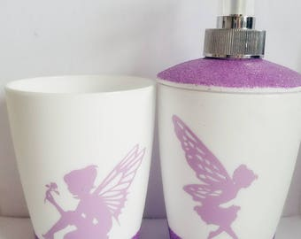 Pink fairies soap dispenser and toothbrush holder set