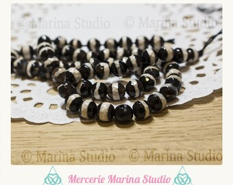 10 pearls 6mm natural faceted dzi agate
