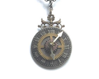 Unique Steampunk Clock Necklace - Steampunk Clock  Pendant -  Interactive Jewelry - Unique Steampunk Jewelry - Victorian Clock