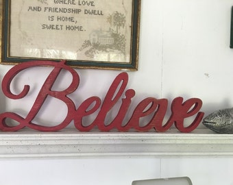 Believe sign, Carved Wood believe sign, shabby chic signs,aged signs,antiqued signs.Believe word sign,religious signs,believe cutout sign