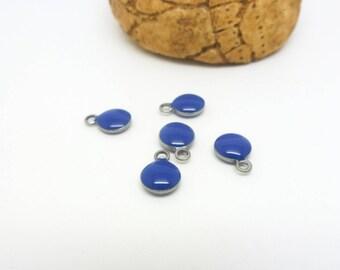 5 charm round 6mm blue enamel - (USAI22) stainless steel base