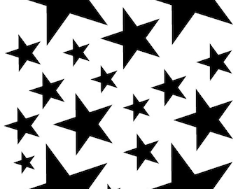 52 Black Vinyl Star Shaped Bedroom Wall Decals Stickers Teen Kids Baby Nursery Dorm Room Removable Custom Made Easy to Install