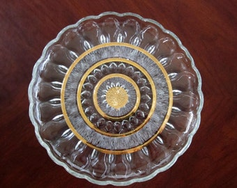 Clear Glass Serving Plate Trimmed in Gold, Scalloped Edge Vintage Dish