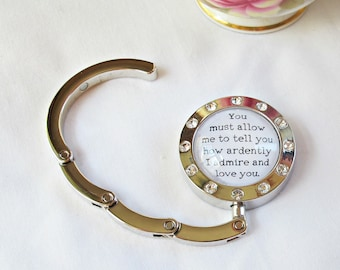 Jane Austen Gift Quote Hanger - Purse Bag Hook Accessories - Pride and Prejudice Mr Darcy