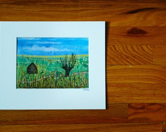 Landscape textile art - green and blue embroidery - handmade decorative art
